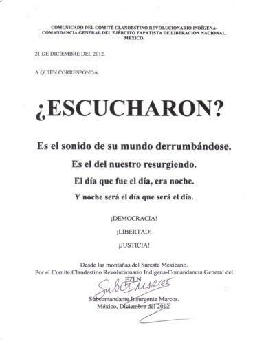 Comunicado ezln 2012
