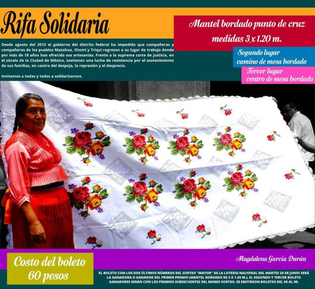 Magdalena Garcia Duran, rifa mantel