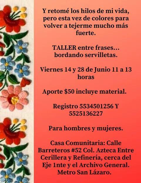 Sexta Y – Taller Frases… Servilletas Bordando Entre Mujeres La yvmNw08nOP